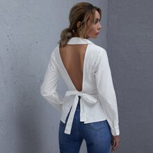 Button Front Tied Backless Top