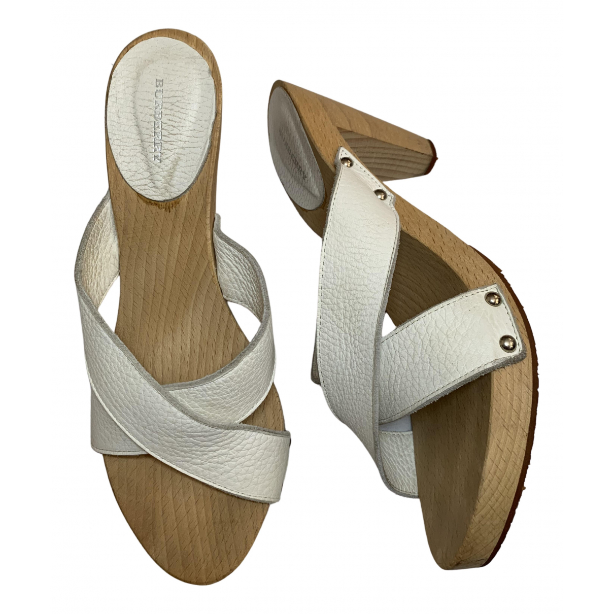Burberry \N White Leather Mules & Clogs for Women 38 EU