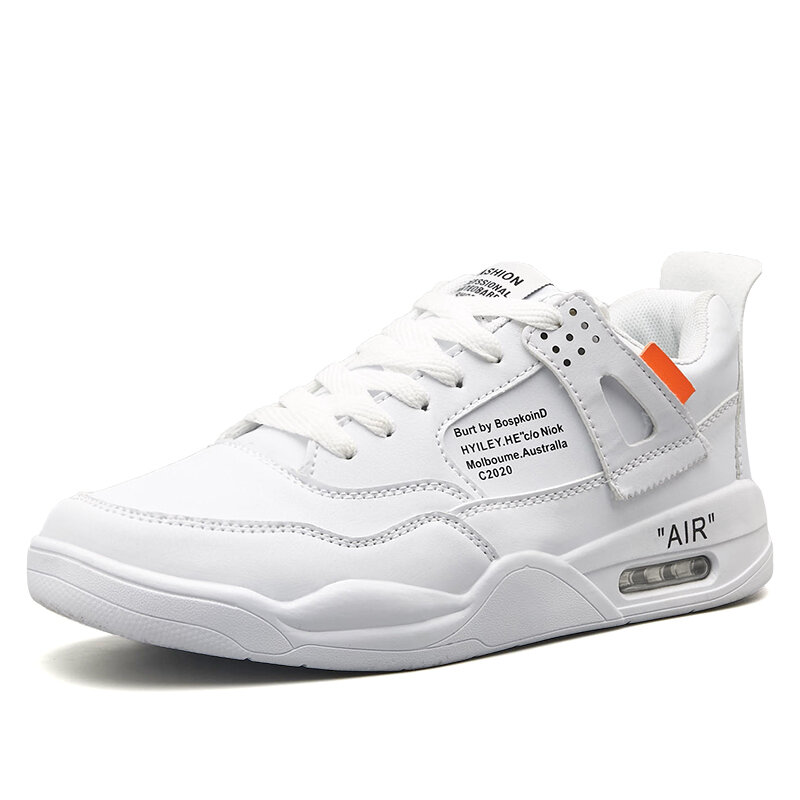 Men Pure Color Comfy Leather Casual Non Slip Air-cushion Sneakers
