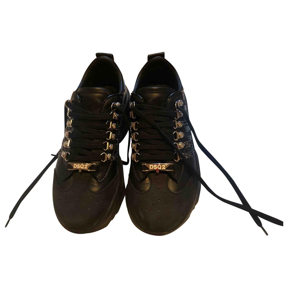 Dsquared2 - Baskets   pour femme en cuir - noir