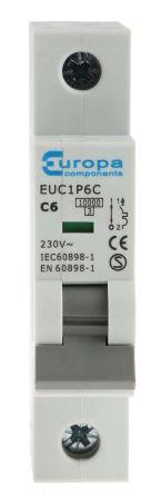 Europa EU 6 A MCB Mini Circuit Breaker, 1P Curve C