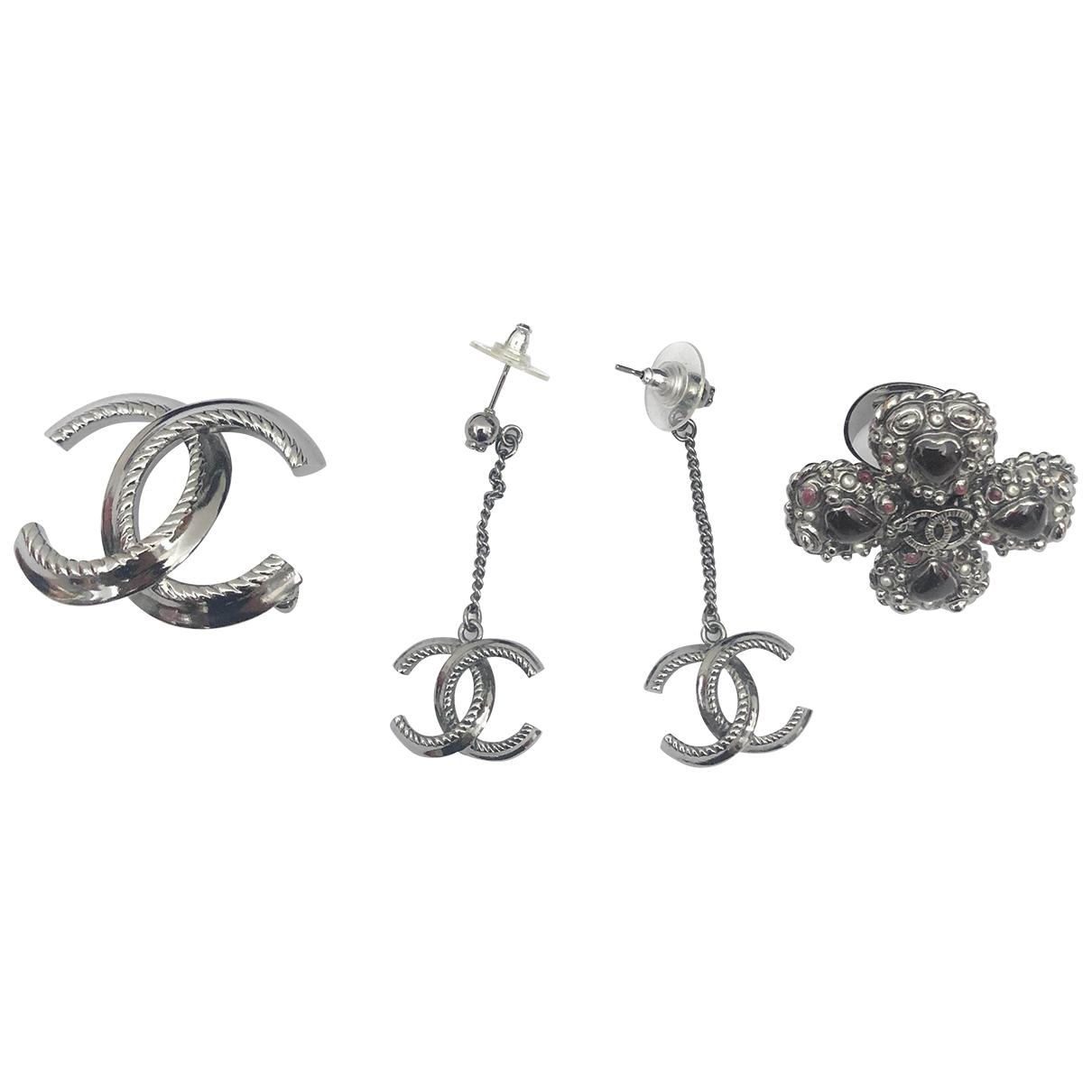 Chanel CC Schmuck-set in  Grau Metall