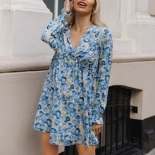 All Over Floral Print Flounce Sleeve Smock Dress