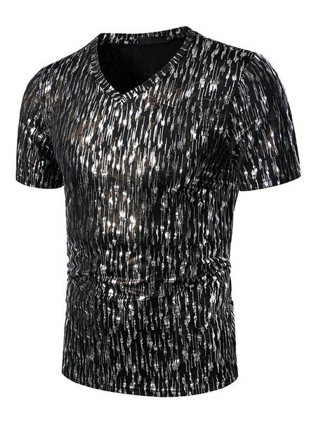 Milanoo Men T Shirts Gold Stamping V Neck Short Sleeves Casual Tops