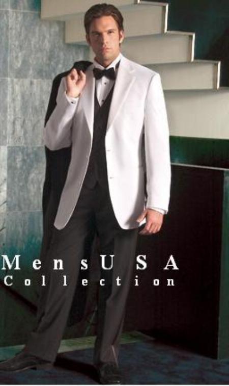 White Tuxedo jacket & white pants + Black Vest + Extra Black Pants