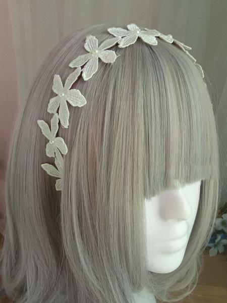 Milanoo Sweet Lolita Headband Floral Pearl Embroidered Ecru White Lolita Hair Accessory