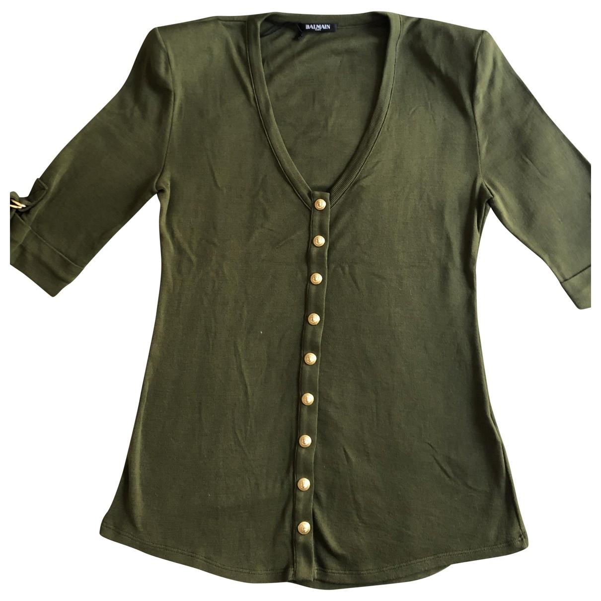 Balmain - Top   pour femme en coton - kaki