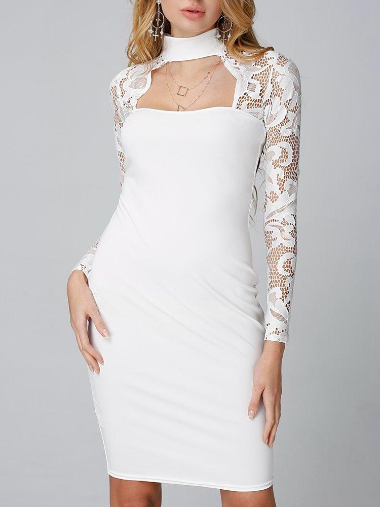 Lace Patchwork Bodycon Turtleneck Long Sleeve Women Dress