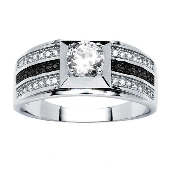 Men's .91 TCW Round Cubic Zirconia Ring in Platinum over .925 Sterling Silver (11)