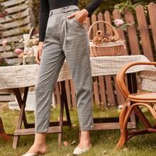 Button Strap Waist Plaid Pants