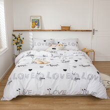 Letter Graphic Bedding Set Without Filler