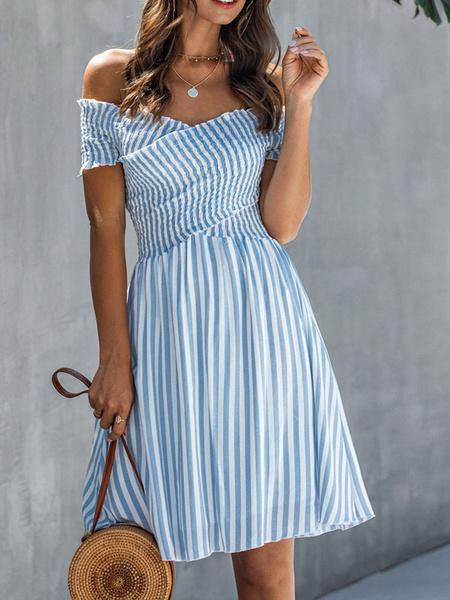 Milanoo Summer Dress Bateau Neck Stripes Light Sky Blue Beach Dress