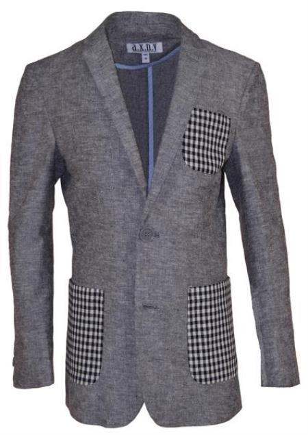 Boys 2 Button Notch Lapel Gray Linen Blazer