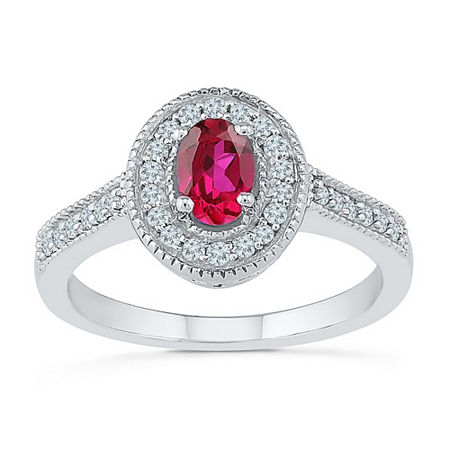 Womens 1/5 CT. T.W. Lab Created Red Ruby Sterling Silver Cocktail Ring, 6 , No Color Family