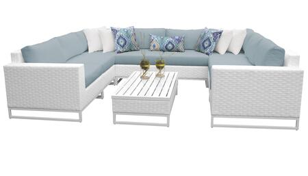 Miami MIAMI-09c-SPA 9-Piece Wicker Patio Furniture Set 09c with 2 Corner Chairs  4 Armless Chairs  1 Coffee Table  1 Left Arm Chair and 1 Right Arm