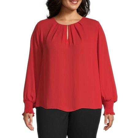 Worthington Womens Tuck Smocked Cuff Blouse - Plus, 0x , Red
