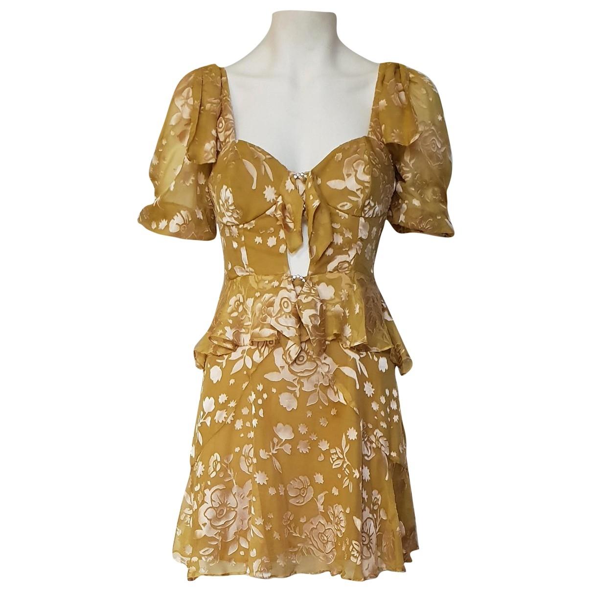 For Love & Lemons \N Kleid in  Gelb Seide