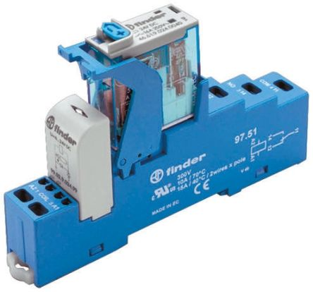 Finder , 24V dc SPDT Interface Relay Module, Cage Clamp Terminal , DIN Rail