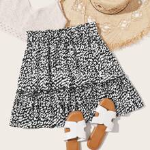 Plus Paperbag Waist Tie Front Leopard Skirt