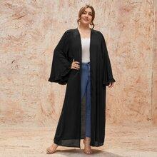 Plus Ruffle Trim Bell Sleeve Kimono