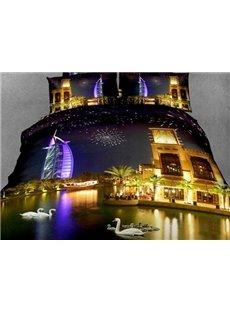 Beautiful Burj Al Arab Hotel Across the River Night Scene 4 Piece Bedding Sets
