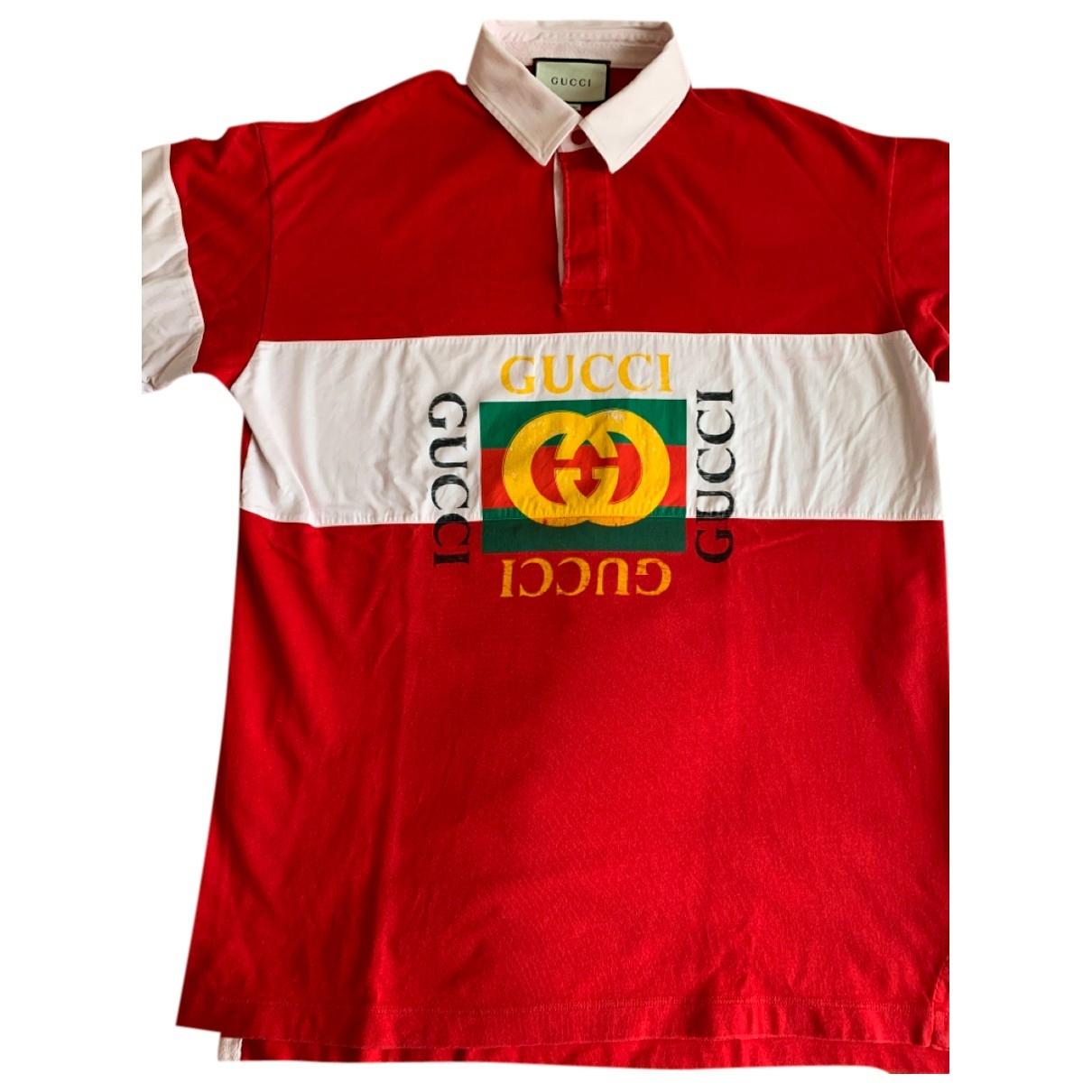 Gucci - Polos   pour homme en coton - rouge