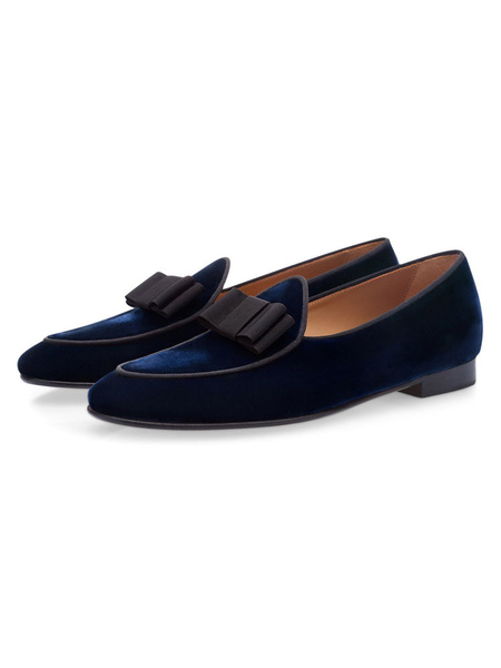 Milanoo Men Party Shoes Velvet Round Toe Bow Slip On Loafers Deep Blue Prom Shoes