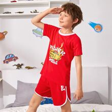 Boys Fire And Letter Graphic Contrast Binding PJ Set