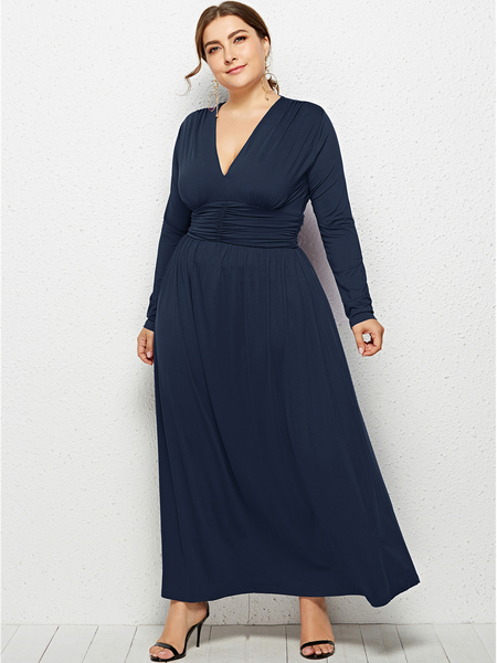 Yoins Plus Size Navy V-neck Long Sleeves Ruched Design Dress