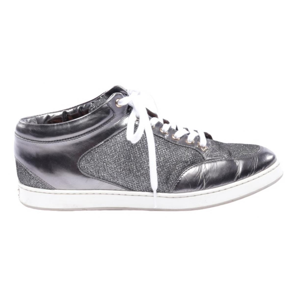 Jimmy Choo \N Grey Leather Flats for Women 38.5 EU