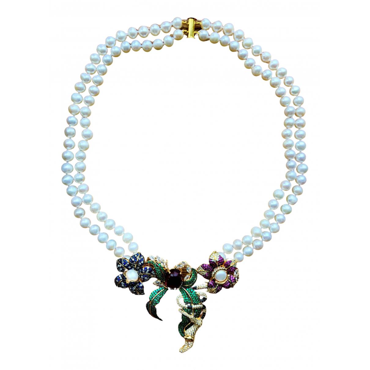 - Collier Motifs Floraux pour femme en perles - blanc