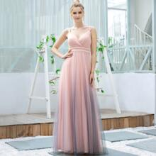 Pearl Beaded Ombre Mesh Prom Dress