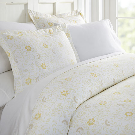 Casual Comfort Premium Ultra Soft Spring Vines Print Duvet Cover Set, One Size , White