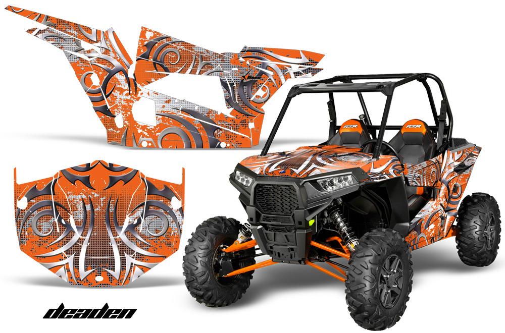 AMR Racing  Full Custom UTV Graphics Decal Kit Wrap Deaden Orange Polaris RZR 1000 13-18