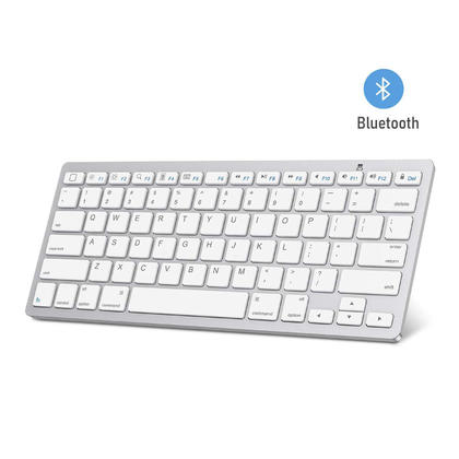 Ultra-Slim 78-Key Bluetooth Keyboard for PC, Mac and Mobile Phones - White & Silver