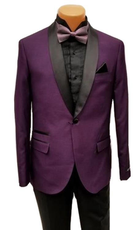 Mens One Button Shawl Lapel Purple Prom Wedding Tuxedo