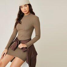 Stand Collar Rib-knit Bodycon Dress