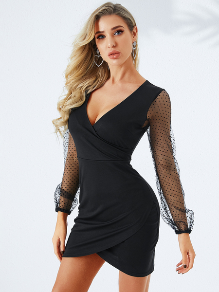 YOINS Black Wrap Design Deep V Neck Dress