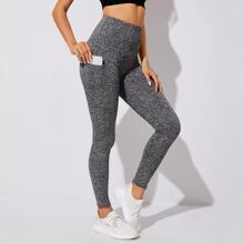 Space Dye Sports Leggings With Phone Pocket