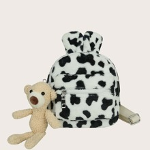 Bear Charm Cow Pattern Fluffy Backpack