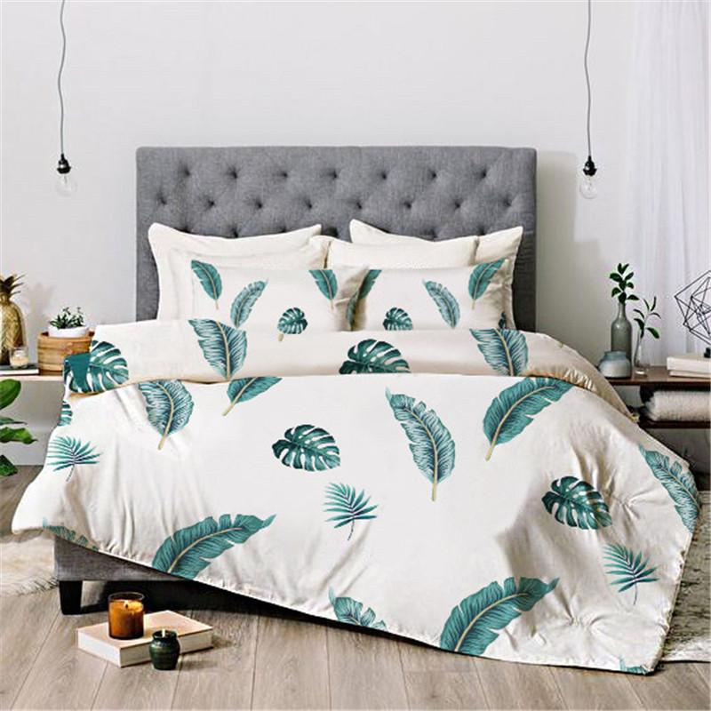 Green Leaves Reactive Printing Four-Piece Set Duvet Cover Set Hand Wash Polyester Bedding Sets