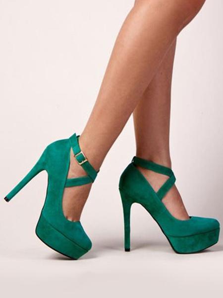 Milanoo Women's Green Platform Heels Stiletto Round Toe Nubuck Plus Size Ankle Strap Pumps Heeled Shoes