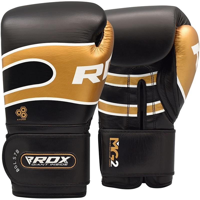 RDX S7 Sparring Boxhandschuhe Leder Haken und Schleife 16oz Schwarz/Gold