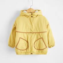 Toddler Boys Contrast Binding Hooded Jacket