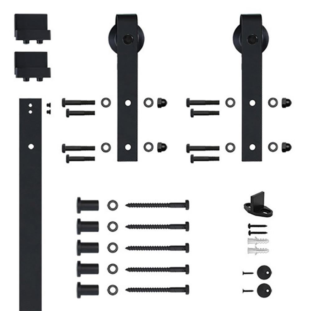 96 in. Black Hook Strap Rolling Door Hardware Kit for Wood Door