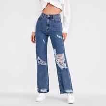 Jeans mit Riss und breitem Beinschnitt