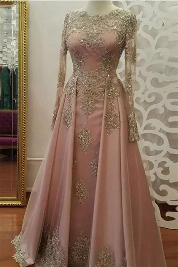 Appliques elegantes cristal bijou robes de bal   Fente laterale robes de soiree a manches longues avec perles
