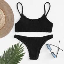 Smocked Hipster Bikini Swimsuit