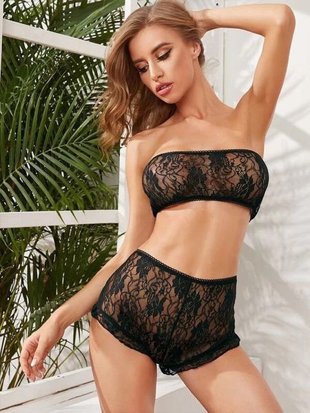 Yoins Lace Tube Top Two-piece Sleeveless Lingerie