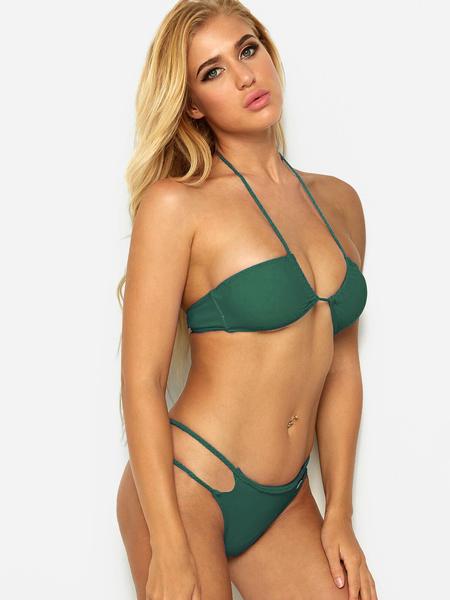 Yoins Green Crossed Front Design Halter Bikini Set
